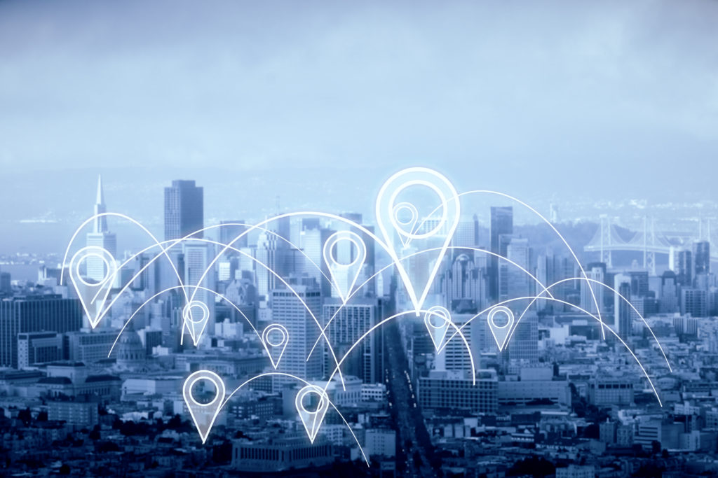 City with abstract connected location pins. Dull sky background. Navigation concept. 3D Rendering
