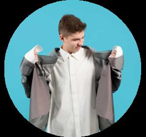 Boy in oversized jacket